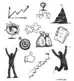 Sketch of success symbols. Success icons. Royalty Free Stock Photos