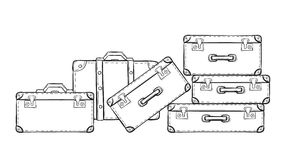 Sketch of the suitcases Stock Images