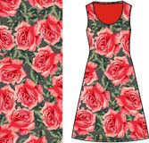 Sketch summer female dress green fabric with red roses and green leaves in style Shabby chic, provence, boho. Stock Images