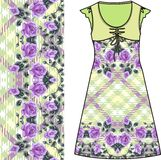 Sketch summer female dress green fabric with red roses and green leaves in style Shabby chic, provence, boho. Stock Image