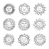 Sketch sun kids drawing, Hand drawn sunshine icons, Doodle suns. Sketch sun kids drawing, Hand drawn sunshine icons. Funny doodle suns, Drawing happy face icon royalty free illustration