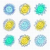 Sketch sun kids drawing, Hand drawn sunshine icons, Funny suns. Sketch sun kids drawing, Hand drawn sunshine icons. Funny doodle suns, Drawing happy face icon Royalty Free Stock Photo