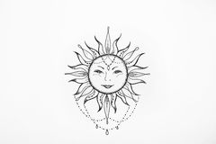 Sketch of the sun with a smile on white background. Sketch of the sun with a smile on a white background Stock Photography