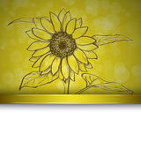 Sketch  sunflower background Royalty Free Stock Photo