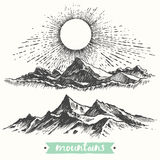 Sketch sunrise mountains engraving drawn vector Royalty Free Stock Photography