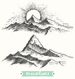 Sketch sunrise mountains engraving drawn vector. Sketch of a mountains, sunrise in mountains, engraving style, hand drawn vector illustration Stock Image