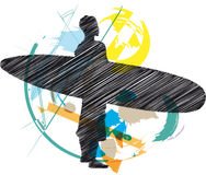 Sketch of Surfer Royalty Free Stock Images