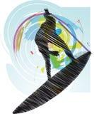 Sketch of Surfer. Illustration made in adobe illustrator Stock Photo