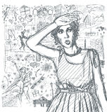 Sketch Surprised Girl Looking For Something Against Love Story B Royalty Free Stock Photos