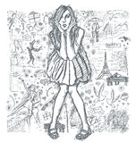 Sketch Surprised Woman In Dress Against Love Story Background 03 Royalty Free Stock Image
