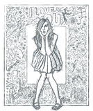 Sketch Surprised Woman In Dress Against Love Story Background 04 Royalty Free Stock Photography