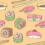 Sketch sushi rolls in vintage style vector illustration
