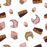 Sketch sweets dessert seamless pattern with Royalty Free Stock Images