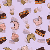 Sketch sweets dessert seamless pattern with Royalty Free Stock Image