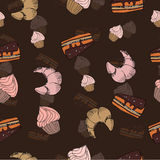 Sketch sweets dessert seamless pattern with Royalty Free Stock Photos