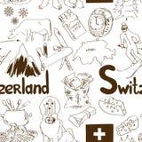 Sketch Switzerland seamless pattern Royalty Free Stock Photo