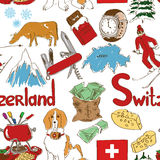Sketch Switzerland seamless pattern Royalty Free Stock Images