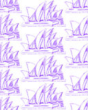 Sketch Sydney opera,  seamless pattern Royalty Free Stock Photo