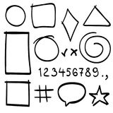 Sketch symbols sign. Sketch figure icons. Stock Images