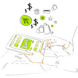 Sketch tablet computer buy button touch finger on Royalty Free Stock Photo
