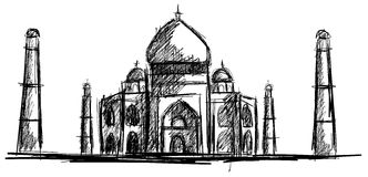 Sketch of Taj Mahal isolated Royalty Free Stock Photo
