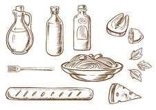 Sketch of talian pasta with ingredients Royalty Free Stock Photos