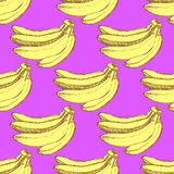 Sketch tasty bananas in vintage style Royalty Free Stock Photography