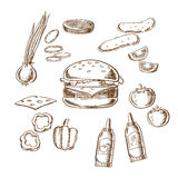 Sketch of tasty burger with many ingredients Royalty Free Stock Photography