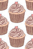 Sketch tasty cupcake in vintage style Royalty Free Stock Photos