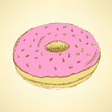 Sketch tasty donut in vintage style Royalty Free Stock Photo