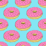 Sketch tasty donut in vintage style Royalty Free Stock Image