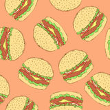 Sketch tasty hamburger in vintage style Royalty Free Stock Images
