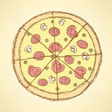 Sketch tasty pizza in vintage style Royalty Free Stock Photography