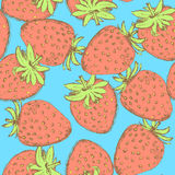 Sketch tasty strawberry in vintage style Stock Photos