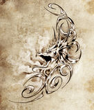 Sketch of tatto art, decorative medieval dragon Royalty Free Stock Photos