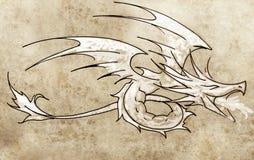 Sketch of tattoo art, dragon line drawing Stock Photos