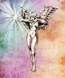 Sketch of tattoo art, fairy angel, nude woman Royalty Free Stock Images