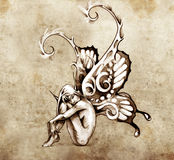 Sketch of tattoo art, fairy with butterfly wings Royalty Free Stock Image