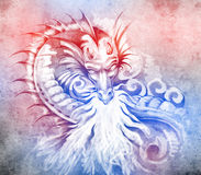 Sketch of tattoo art, fantasy medieval dragon. With white fire Royalty Free Stock Image
