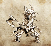 Sketch of tattoo art, funny little warrior Royalty Free Stock Photos