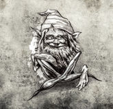 Sketch of tattoo art, funny sitting gnome Royalty Free Stock Photography