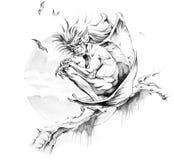 Sketch of tattoo art, gargoyle Stock Photography