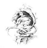 Sketch of tattoo art, gargoyle Stock Photo
