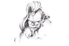 Sketch of tattoo art, genius. Sketch of tattoo art, monster,genius Stock Images