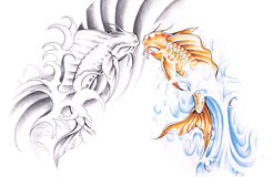 Sketch of tattoo art, goldfish Royalty Free Stock Photography