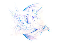 Sketch of tattoo art, horse, unicorn Royalty Free Stock Images