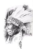 Sketch of tattoo art, indian head Stock Photos