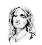 Sketch of tattoo art, indian head Royalty Free Stock Photography