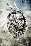 Sketch of tattoo art, indian head over cropfield background Royalty Free Stock Photos