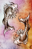 Sketch of tattoo art, japanese goldfish Stock Photography